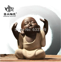ceramic crafts - Mini cute Buddha ceramics pottery tea pet Yixing tea set special tea accessories exquisite personalized ornaments Chinese crafts