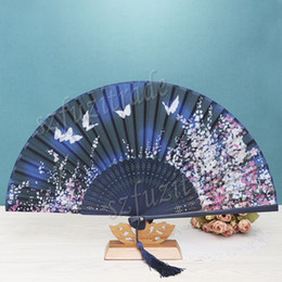 Wholesale-Silk Collapsible Chinese Bamboo Fan China Classic Arts Soochow Flower Hand Fans Silk Hand Fan Craft Home Decor Gift Folding Fan