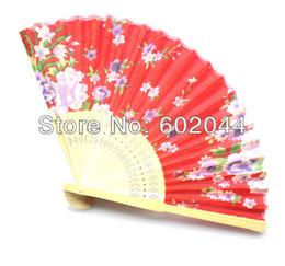 Wholesale-Free shipping 60 Pcs Chinese Silk folding Bamboo Hand Fan Fans Art Handmade Flower