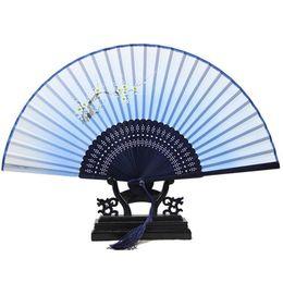 Wholesale-Chinese Vintage Retro Flower Bamboo Silk Print Folding Hand Handheld Fan