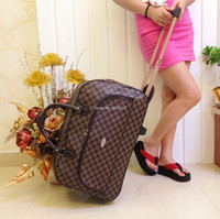 Wholesale trolley travel PU leather bag portable trolley luggage bag men travel bags