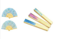 Wholesale Chinese Silk folding Bamboo Hand Fan Fans Art Handmade Flower