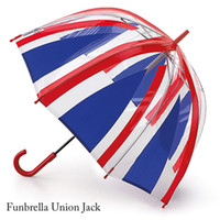 air domes - London British flag transparent straight rain umbrella Novelty households mushroom dome red amp blue long handled kids air umbrella