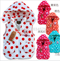 Cheap Free shipping Fashion Spring autumnwinter Down cotton Girls Polka Dot vest Children waist coats(for 2-6 years) free shipping