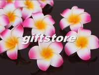 Cheap 100pcs lot Mixed Color Foam Hawaiian Plumeria Flower Frangipani Flower Hairpin Hair Accessories Wedding Party Decor