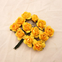 144pcs 2cm Yellow Paper rose flowers Scrapbooking Decoration flowers with wire stem  Wedding flowers free shipping