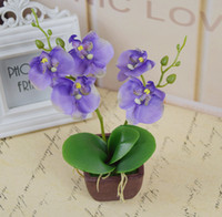 artificial orchid pot - Decorative flower pots planters silk artificial flowers orchid in pots fake orchids flower with vase on the table