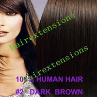Wholesale 18 quot Clip in on human hair extension hair extensions set g Dark Brown set