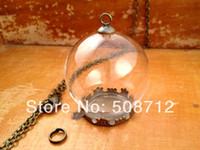 apothecary - 20sets Clear Glass Globe Necklace Kit Bottle Pendant DIY Antique Bronze Top Terrarium Bottle Charm Apothecary Jewelry Supplies