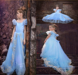 Wholesale-1Pcs 3-10Yrs Girls Summer Cinderella Princess Cosplay Dresses,Baby Girls Wedding Party Princess Dress,Girls Blue Mermaid Dresses