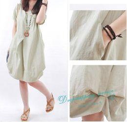 Women Clothing Big Yards Loose Dresses linen Short Dress Female Casual Dress Free Shipping