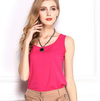 bamboo tank tops - 2015 Summer New European style plus size Women Clothing Loose Fashion Chiffon Tank Tops Vest Shirts