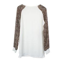 Wholesale Chiffon Longsleeve Shirt - 2015 New Sexy Women Chiffon Blouse O-Neck LongSleeve Leopard Patchwork Shirts&Blouse Hot Casual Tops Blusas M L XL XXL Plus Size