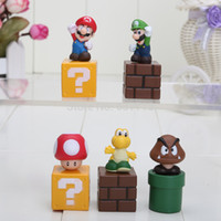 action wall - sets Super Mario wall Bros Luigi mushroom L Action Figures youshi mario Gift OPP hot sale