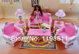 Free Shipping New Girl's toy Doll Furniture With Box Living Room doll furniture accessories for barbie doll