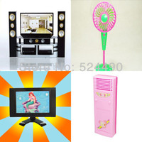 air condition equipment - 4 Doll Funiture Equipment Disply Toys Accessories TV Air condition For Barbie Doll Birthday Christmas Gift