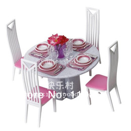 Free Shipping New Girl's toy Doll Furniture With Box Dinner Table doll furniture accessories for barbie doll