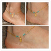 Wholesale Hamsa Hand Fatima Evil Eye Luck Beads Anklet Ankle Bracelet Foot Chain Sandal