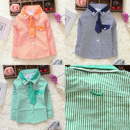 Toddler Kids Boys Striped Long Sleeve Dress Shirt W Solid Necktie Tops S M L XL
