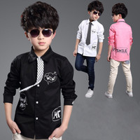 Wholesale 2015 New Letter Printed Kids Formal Shirts for Boys Spring amp Fall Kids Colors Dress Shirt with Tie Young Boys Clothing YC112