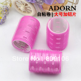 Wholesale retail Large aluminium self adhesive roll hair roller magic self adhesive bulkness natural jumbo pear