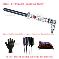 Bigoudi Zebra Curling Wand Tourmaline céramique 19mm Bigoudis Barrel Dia (3/4 '') Dual Voltage + Gant gratuit