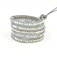 Wholesale hot new arrival mm gray crystal and copper wrap bracelet handmade wrap leather bracelet crystal beads bracelet JN