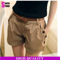 Wholesale 2015 New Solid All Match Hot Shorts Women Fashion Roll up Edges Loose Cotton Casual Trousers Short Pants With Belt Plus Size