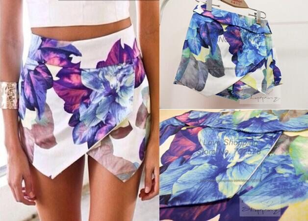 2015 Fashion LOVEGIRL Flower Print shorts Asymmetrical Skirt Shorts Summer Flower Print Hot Pants Women Brand Pom Short Feminino
