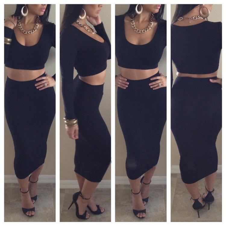 Red Black White Women Crop Top   Bodycon Pencil High Waisted Long ...