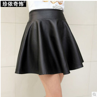 Cheap Free Shipping 2015 New Arrival Fashion Women Skirt Spring Clothing Euro Punk Style Leather Skirt Pleated Skirt Lots Colors