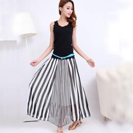 Discount Long Black White Striped Maxi Skirt | 2017 Long Black ...
