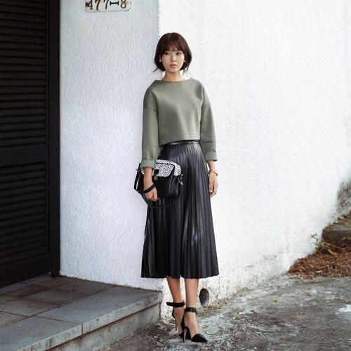 2017 Pu Faux Leather Skirt Pleated Midi Long Maxi High Waist ...