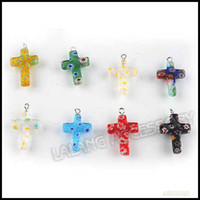 Wholesale Mixed Murano Glass Lampwork Pendants Beads Cross Shape Fit Braclet amp Necklace DIY
