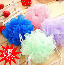 Wholesale Women multicolor bath ball off flowers scrubber body cold towel clean shower wash sponge products