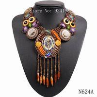 bib necklace designs - 2015 new design fashion vintage tibetan button big chunky statement bib bead tassel pendant choker necklace collar for women