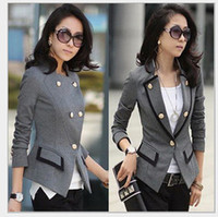 Cheap New Fashion 2015 Spring Suit Jacket Women Double Breasted Short Coat Office Ladies Blazer Black