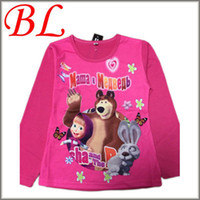 Wholesale Retial Russia Cartoon t shirts Masha and bear Long Sleeve Boys Girls Dora clothes Brand Top shirt Kids clothing