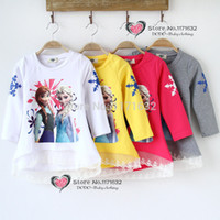 Wholesale Girl cotton T Shirt Frozen Elsa Anna Olaf Clothes Fashion long sleeve Children T Shirt for baby Girls Casual Kids Clothes