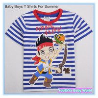 Cheap Wholesale-Free shipping Hot sale retail 2015 Children Kids Clothing Tees Jake And The Never Land Pirates Baby Boys T Shirts For Summer