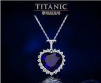 Precio de Colgante de zafiro titánica-Al por mayor-corazón titánico del océano cristal de zafiro collar de cadena de la joyería pendiente de la Plata