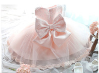 Cheap Free Shipping Retail Girl Dresses Children Dress Party Summer Princess Baby Girl Wedding Dress Birthday Big Bow Pink For 90-150