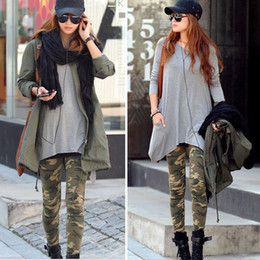 Ladies Slim Pants Graffiti Style Camouflage Stretch Army Tights Trouser free shipping&DropShipping
