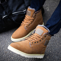 cowboy boots - 2015 Casual men winter shoes ankle suede boots flat heels mens leather boots platform cowboy martin SNOW boot