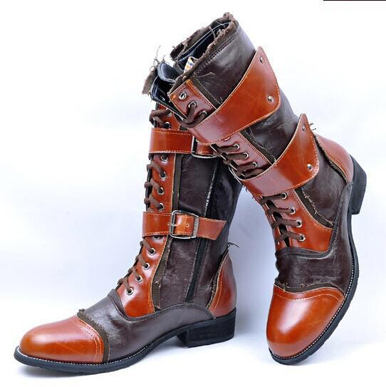 Black/Brown 2015 Hot Sale Long Leather Men Boots Long Barreled ...