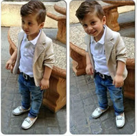 children clothing - european fashion boys denim clothing sets baby kids boys jacket polo shirt denim pants piece children denim clothing sets