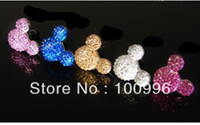 Cheap Wholesale-Min.order is $15 (mix order) Free shipping. lovely crystal Mickey charms mobile phone dust plug,dust plugs for cell phones