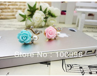 Cheap Wholesale-Min.order is $15 (mix order) Free shipping. lovely candy rose flower charms mobile phone dust plug,dust plugs for cell phones