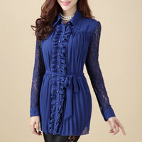 Cheap Full Sleeve Turn-down Collar Long Shirt Top Casual Blouses Black Women Big Size Plus Size Women Clothing Lace Chiffon Blouse