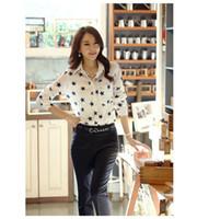 basic top pattern - New Blusas Femininas Shirt Fashion Women Tops Lady Basic Blouse Casual Chiffon OL Pattern Star Turn Down Collar Plus Size